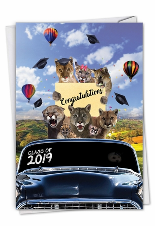 Stylish Graduation Card From NobleWorksCards.com - Cougar Mascot - 2019