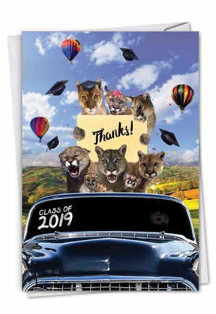 Creative Graduation Thank You Greeting Card From NobleWorksCards.com - Cougar Mascot - 2019
