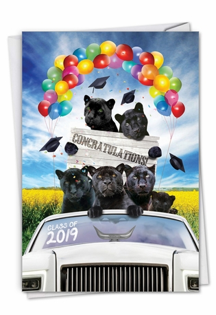 Stylish Graduation Paper Card From NobleWorksCards.com - Panther Mascot - 2019