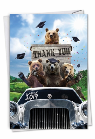 Stylish Graduation Thank You Paper Greeting Card From NobleWorksCards.com - Bear Mascot - 2019