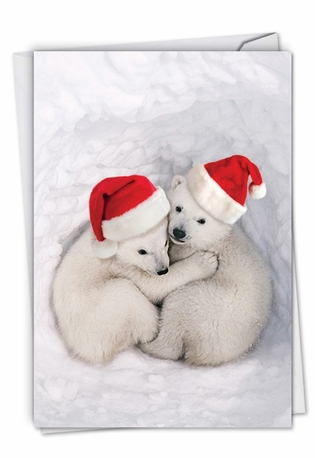 Creative Merry Christmas Printed Greeting Card From NobleWorksCards.com - Bear Hugs
