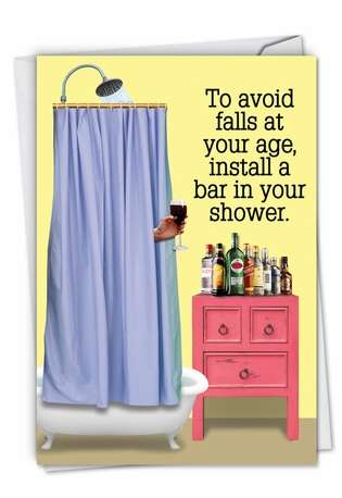Hysterical Birthday Greeting Card From NobleWorksCards.com - Shower Bar