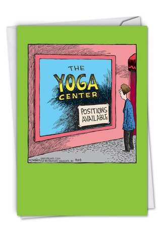 Funny Birthday Paper Card By Coverly, Dave From NobleWorksCards.com - Yoga Center