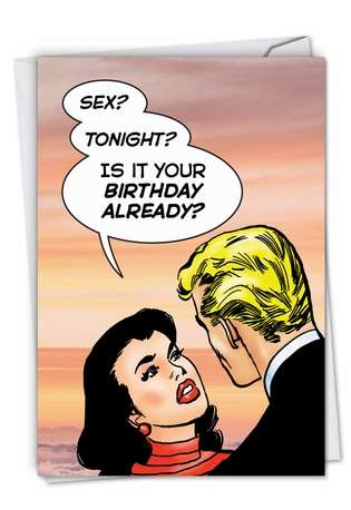 Hilarious Birthday Printed Greeting Card By Last Kiss From NobleWorksCards.com - Birthday Sex