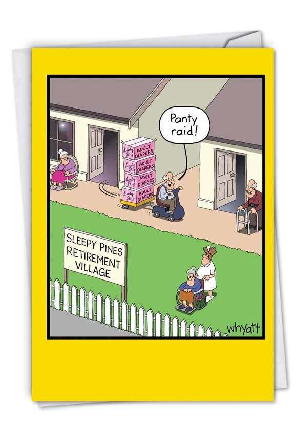 Humorous Birthday Paper Greeting Card By Whyatt, Tim From NobleWorksCards.com - Panty Raid