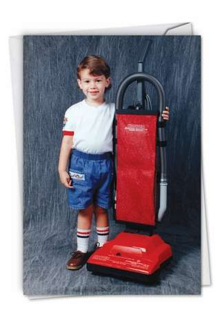 Hilarious Birthday Printed Greeting Card By Awkward Family Photos From NobleWorksCards.com - Vacuum Boy