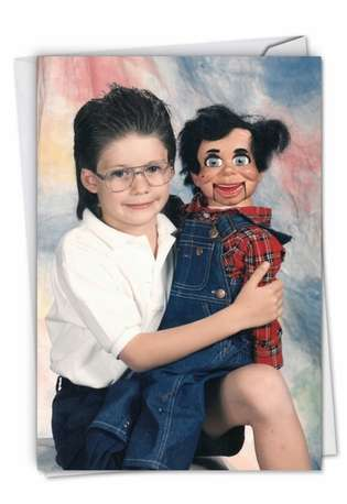 Funny Birthday Paper Card By Awkward Family Photos From NobleWorksCards.com - Puppet Boy
