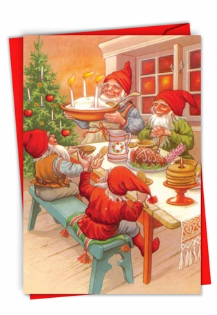 Stylish Merry Christmas Paper Card From NobleWorksCards.com - Gnome for the Holidays