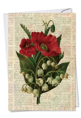 Stylish Sympathy Paper Greeting Card from NobleWorksCards.com - Flower Press
