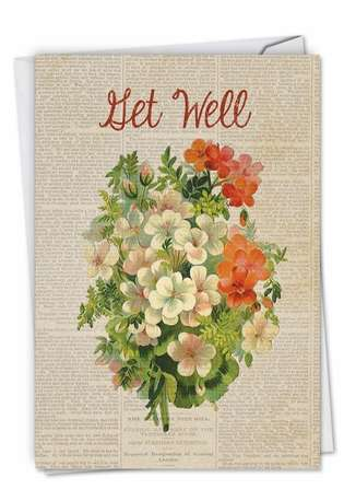 Stylish Get Well Paper Card from NobleWorksCards.com - Flower Press