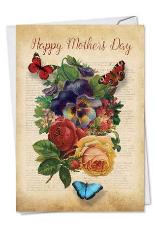 Stylish Mother's Day Paper Card from NobleWorksCards.com - Fluttering Words