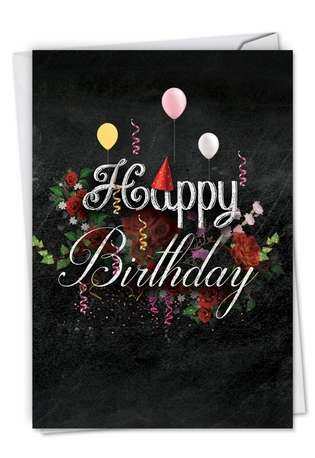 Stylish Birthday Printed Greeting Card from NobleWorksCards.com - Chalk and Roses