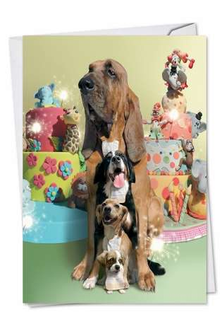Stylish Birthday Paper Greeting Card by Chiara Castellini from NobleWorksCards.com - Puppy Love