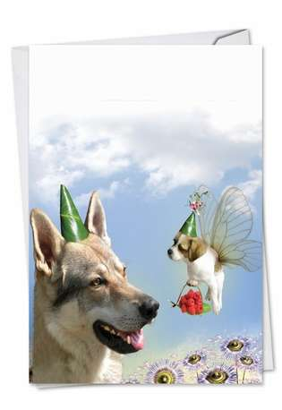 Creative Birthday Printed Greeting Card by Chiara Castellini from NobleWorksCards.com - Puppy Love