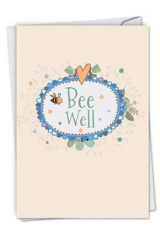 Stylish Get Well Printed Greeting Card from NobleWorksCards.com - Bee Well