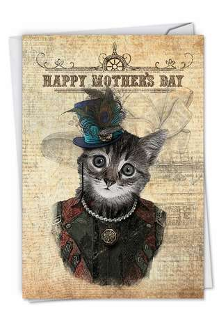 Stylish Mother's Day Paper Greeting Card from NobleWorksCards.com - Steampunk Cats