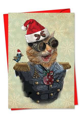 Stylish Christmas Paper Card from NobleWorksCards.com - Steampunk Cats