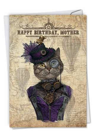 Creative Birthday Mother Greeting Card from NobleWorksCards.com - Steampunk Cats