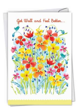 Creative Get Well Paper Greeting Card by Debbie Tomassi from NobleWorksCards.com - Garden Delights