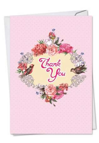Creative Thank You Printed Greeting Card from NobleWorksCards.com - Birds and Blossoms