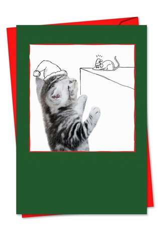 Stylish Christmas Greeting Card from NobleWorksCards.com - Cats & Doodles