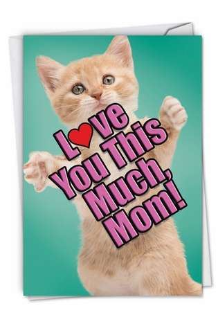 Stylish Birthday Mother Paper Greeting Card From NobleWorksCards.com - Cat Love You This Much