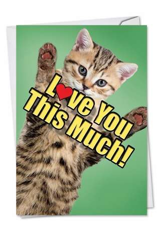 Stylish Father's Day Paper Greeting Card from NobleWorksCards.com - Cat Love You This Much
