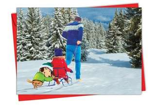 Stylish Christmas Printed Card by Scott Nelson from NobleWorksCards.com - Holiday Fuzzy Tummies