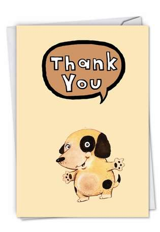Creative Thank You Paper Card by Scott Nelson from NobleWorksCards.com - Fuzzy Tummies