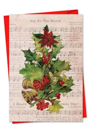 Stylish Christmas Printed Greeting Card from NobleWorksCards.com - Holly Notes