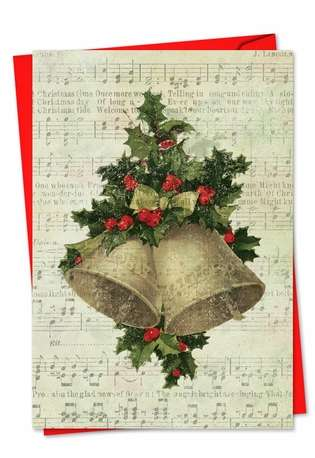 Stylish Christmas Paper Greeting Card from NobleWorksCards.com - Holly Notes