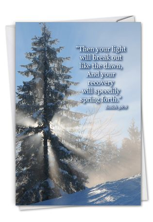 Creative Get Well Greeting Card From NobleWorksCards.com - Winter Sunrise - Isaiah 58:8