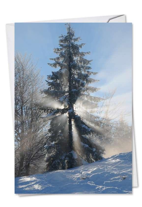 Stylish Christmas Paper Card from NobleWorksCards.com - Christmas Sunrise