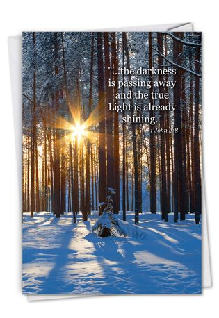 Stylish Sympathy Paper Card From NobleWorksCards.com - Winter Sunrise - 1 John 2:8