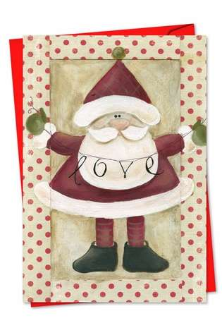 Stylish Christmas Paper Greeting Card by Carol Robinson from NobleWorksCards.com - Santa Banners