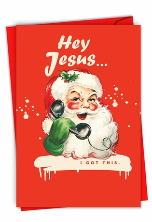 Funny Merry Christmas Paper Card By Offensive+Delightful From NobleWorksCards.com - Hey Jesus