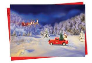 Creative Christmas Greeting Card from NobleWorksCards.com - Toy Trucks 'N Trees