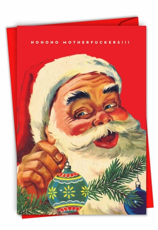 Humorous Merry Christmas Paper Greeting Card By Offensive+Delightful From NobleWorksCards.com - HoHoHo Mothers