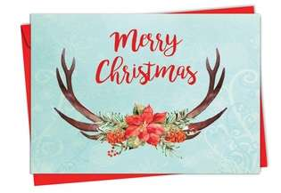 Stylish Christmas Printed Greeting Card from NobleWorksCards.com - Floral Horns
