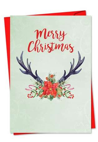 Creative Seasons Greetings Paper Card from NobleWorksCards.com - Floral Horns