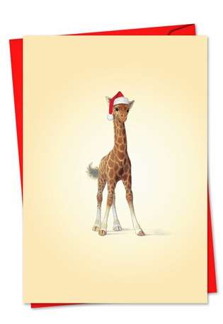 Stylish Christmas Greeting Card by John Butler from NobleWorksCards.com - Zoo Babies
