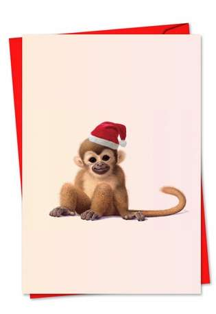 Stylish Christmas Paper Greeting Card by John Butler from NobleWorksCards.com - Zoo Babies