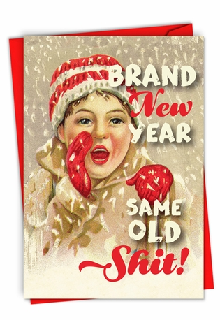 Funny Merry Christmas Paper Greeting Card By Offensive+Delightful From NobleWorksCards.com - Brand New Year