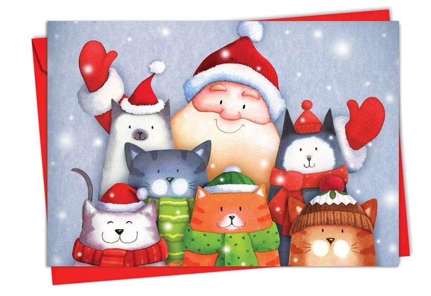 Stylish Christmas Printed Greeting Card by Portfolio Select Ltd from NobleWorksCards.com - Santa Selfies