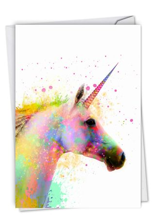 Stylish Birthday Paper Card From NobleWorksCards.com - Funky Rainbow Unicorns - Believe