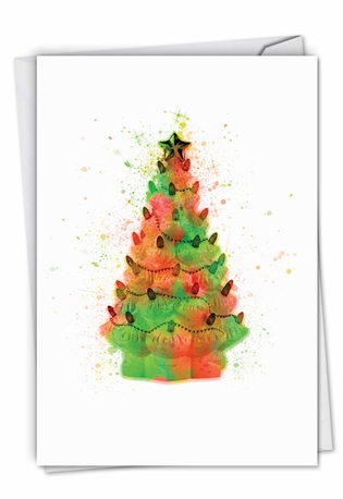 Stylish Merry Christmas Card From NobleWorksCards.com - Funky Rainbow Christmas