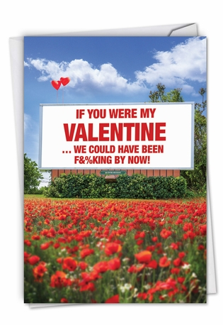Humorous Valentine's Day Paper Card From NobleWorksCards.com - Sexy Billboard