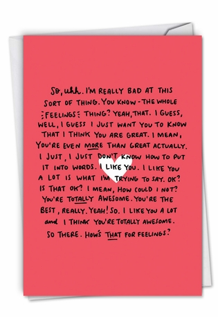 Humorous Valentine's Day Card By Angela Chick From NobleWorksCards.com - Awkward Feelings