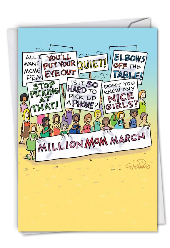 Funny Mother's Day Card By Daniel Collins From NobleWorksCards.com - Million Mom March