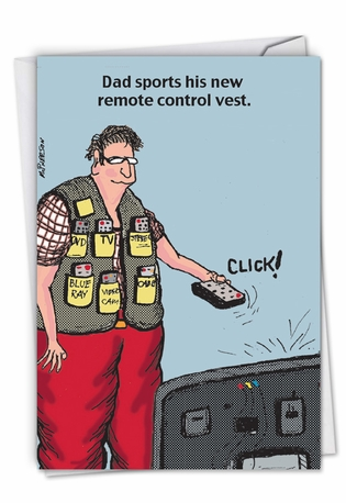 Humorous Father's Day Paper Card By John McPherson From NobleWorksCards.com - Remote Control Vest